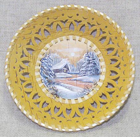 Тарелка-панно из бересты ПЕЙЗАЖ, д. 200