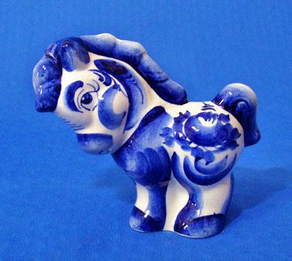 Пони большой, гжель синяя
