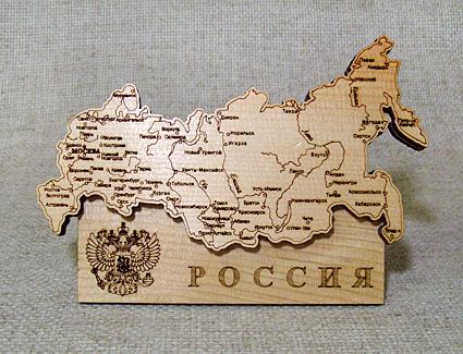 Настольный сувенир Карта России, кедр RUS201