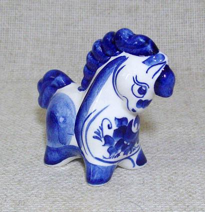 Конь Яшка, гжель синяя