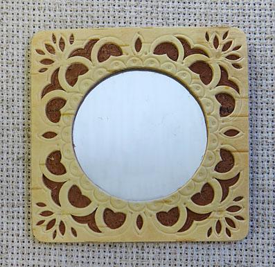 Зеркало берестяное квадратное