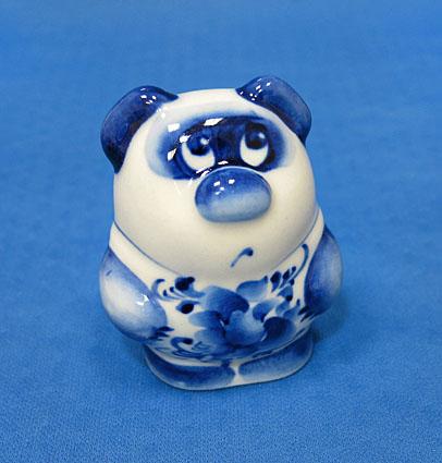 Винни-Пух большой, гжель синяя, П
