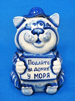 Копилка Кот Попрошайка, гжель синяя, П