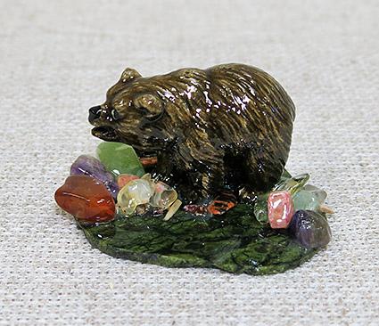 Настольный сувенир Медведь-кроха на змеевике