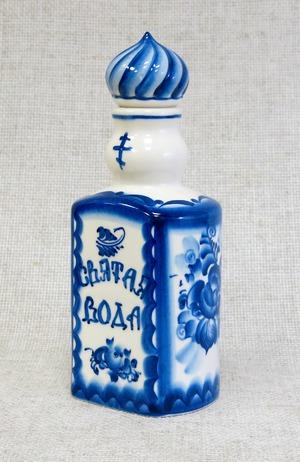Штоф для святой воды, гжель синяя, П
