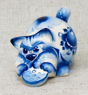 Кошка Злюка, гжель синяя, П