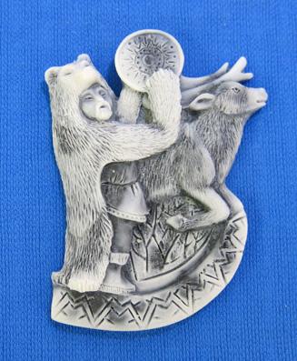 Магнит-барельеф Шаман в шкуре медведя с бубном