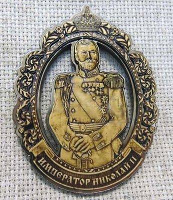 Магнит Николай II - береста, дерево, пластик, АА