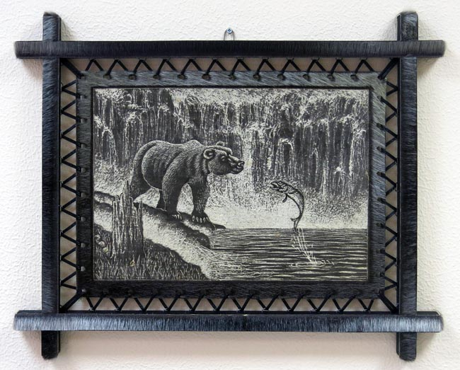 Картина на шкуре байкальской нерпы - Медвежьи будни