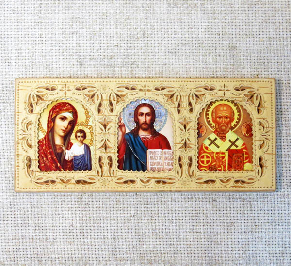 Икона в берестяном окладе Триптих