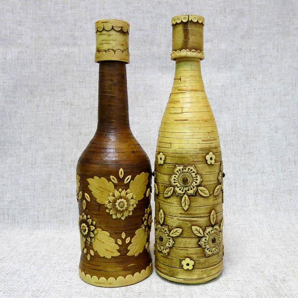 Бутылка декорированная берестой Полянка, ОСТ