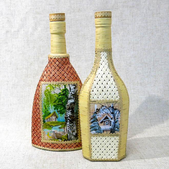 Бутылка, декорированная берестой Пейзаж, с плетением