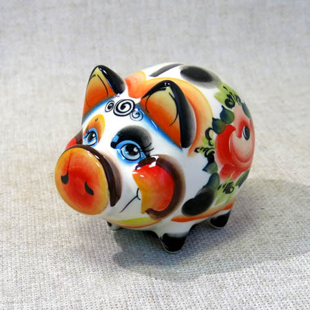Свинья-копилка Боря малый, гжель цветная, П