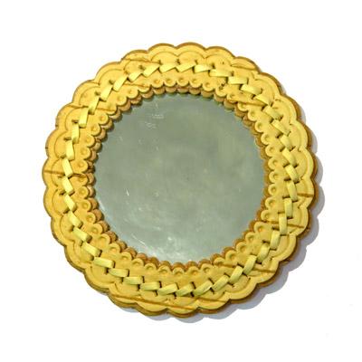 Зеркало берестяное плетеное круглое