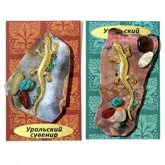 Магнит Ящерка на камне с самоцветами