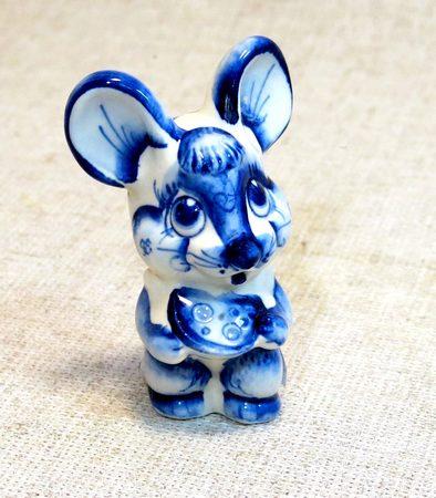 Фигурка Мышка, гжель синяя, СМ