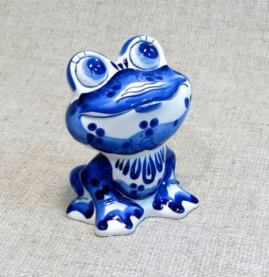 Лягушка-квакушка, гжель синяя
