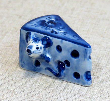 Сыр с мышью, гжель синяя