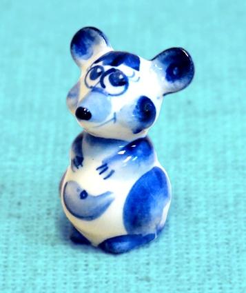 Мышонок Мальчик, гжель синяя, П