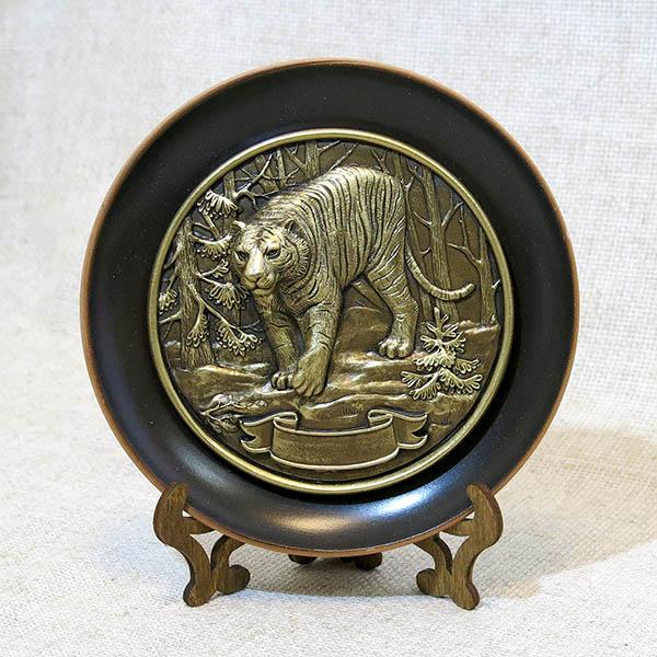 Тарелка керамическая с литой каменной накладкой Тигр, 7028
