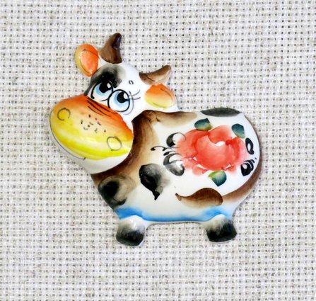 Магнит большой Корова, гжель цветная, П