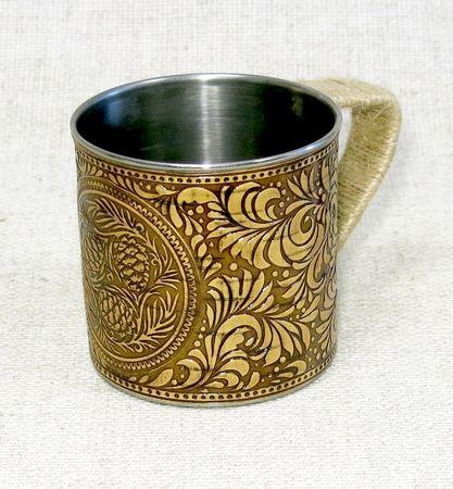 Кружка металлическая, декорированная берестой Шишки, НВИ