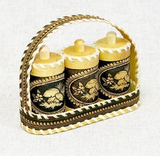 Набор для специй Корзинка с грибами, 3 предмета, НВИ