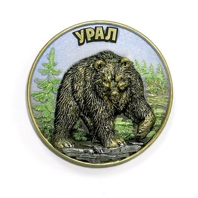 Магнит литой Медведь с поднятой лапой круг цветной, 12192