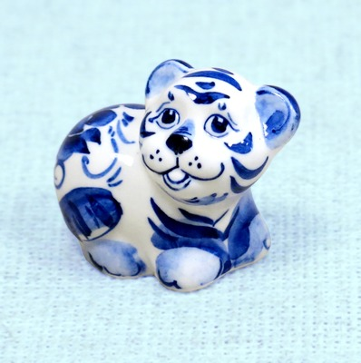 Тигр Барни, гжель синяя
