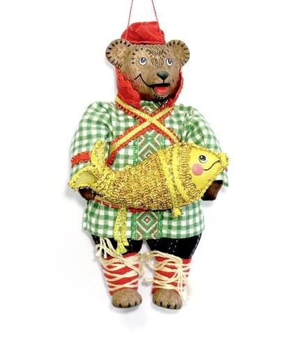 Игрушка подвесная  Медведь с рыбой, ММ5