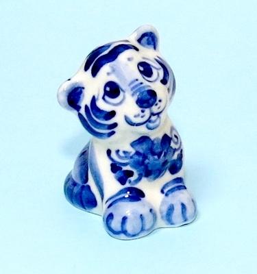 Тигр Рик, гжель синяя