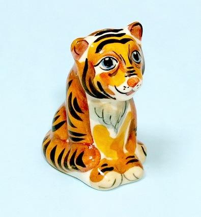 Тигр Эрни, гжель цветная
