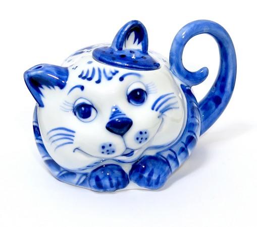 Чайник Кот авторский, гжель синяя