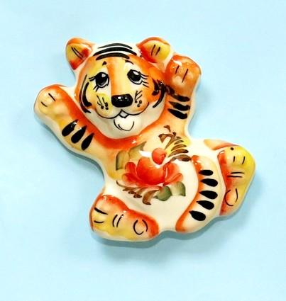 Магнит Тигр, гжель цветная, СМ