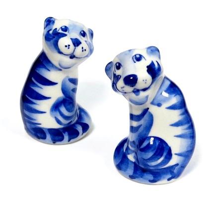 Тигр Бо, гжель синяя, К
