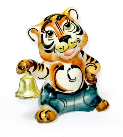Тигр с колокольчиком, гжель цветная, ТР