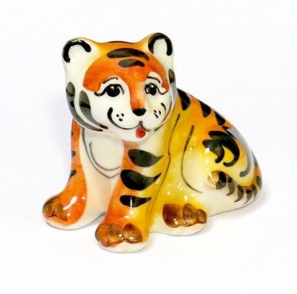Тигр Брюс, гжель цветная, ТР