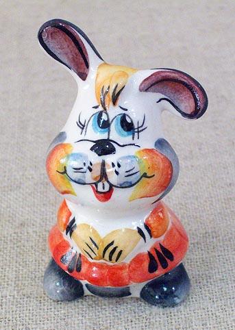 Заяц девочка, гжель цветная