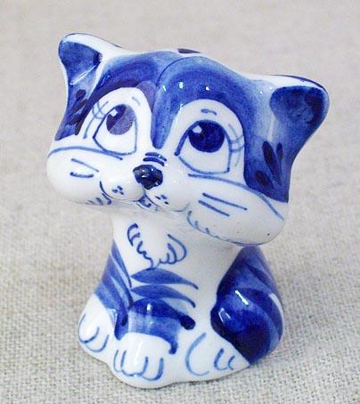 Котенок Гав, гжель синяя