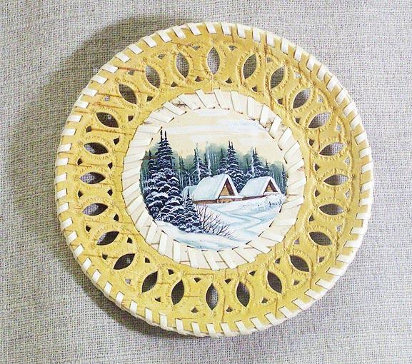 Тарелка-панно из бересты ПЕЙЗАЖ, резьба, ропись